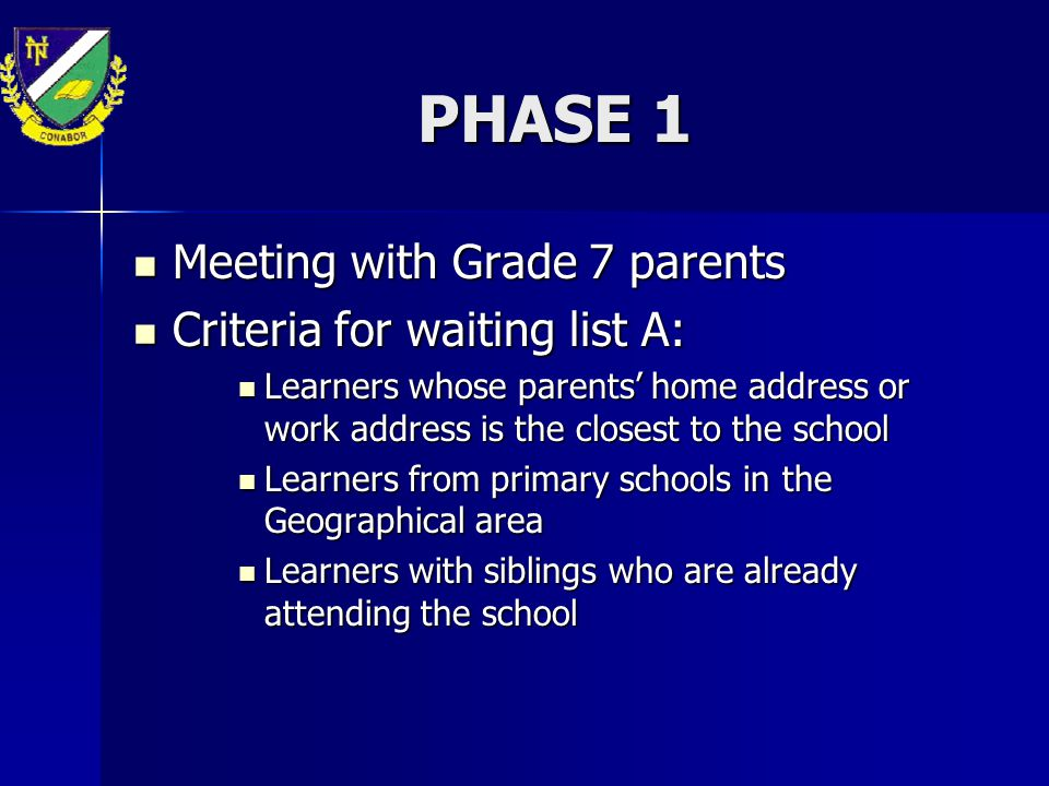 PHASE 1 Meeting with Grade 7 parents Criteria for waiting list A:
