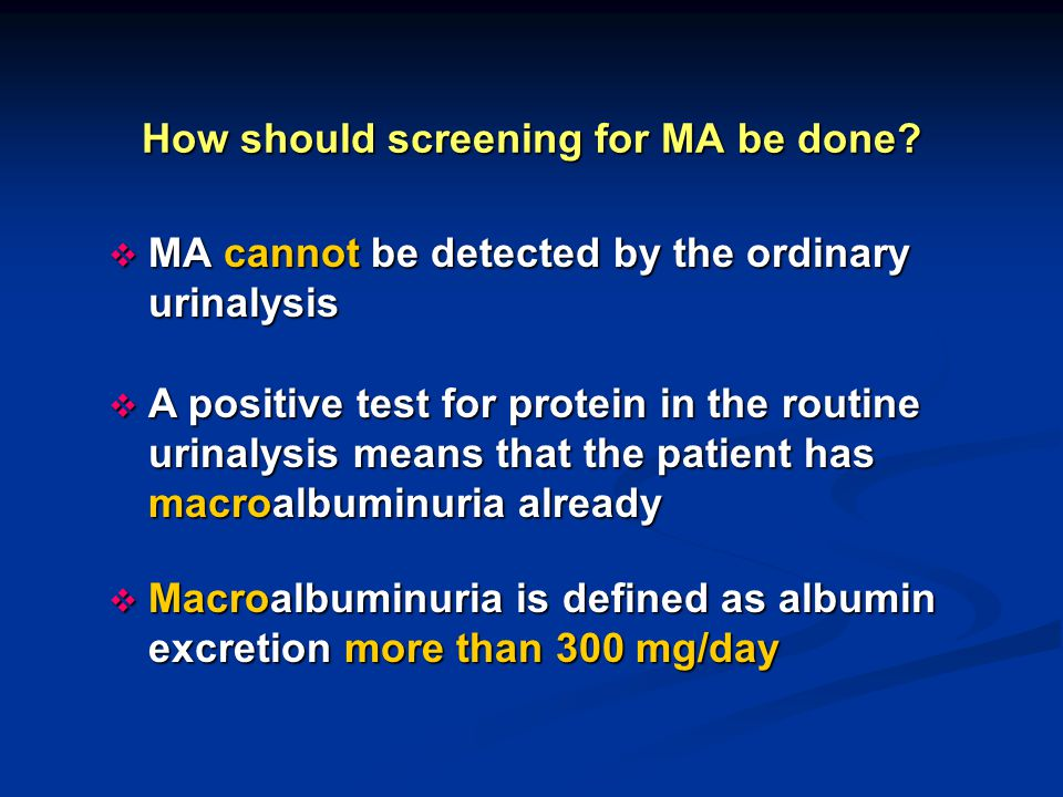 How should screening for MA be done