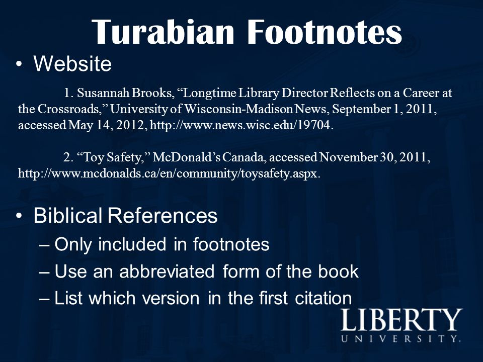 Turabian Footnotes Website Biblical References