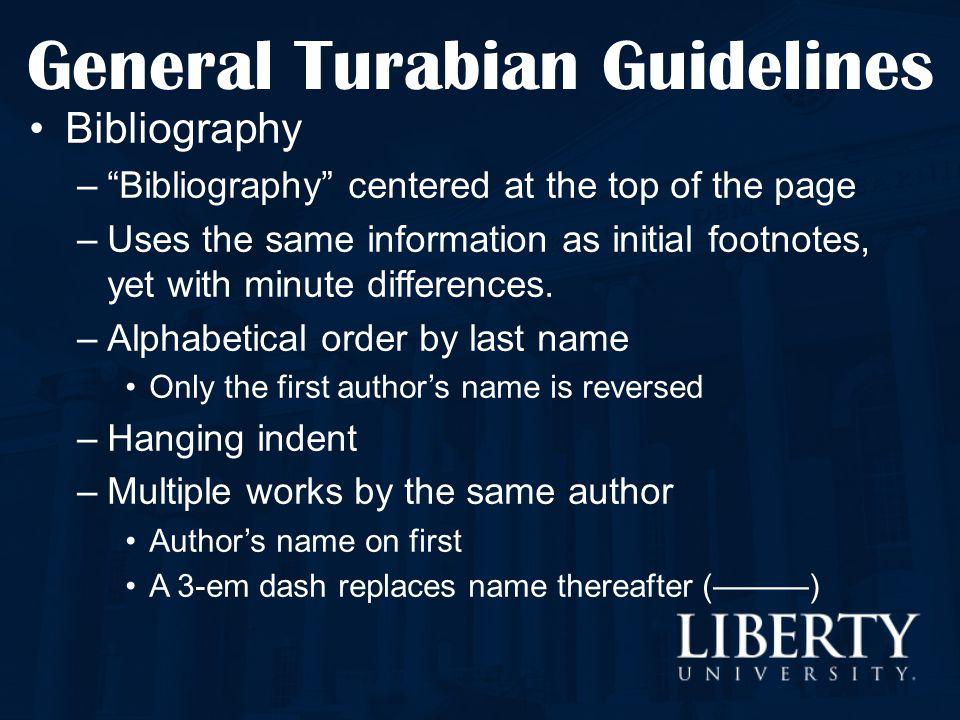 General Turabian Guidelines