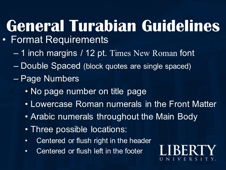 turabian paper guidelines The turabian citation style offers two different documentation systems writers in the natural, physical, and social sciences commonly employ a system that links in-text author and date information with a reference list.