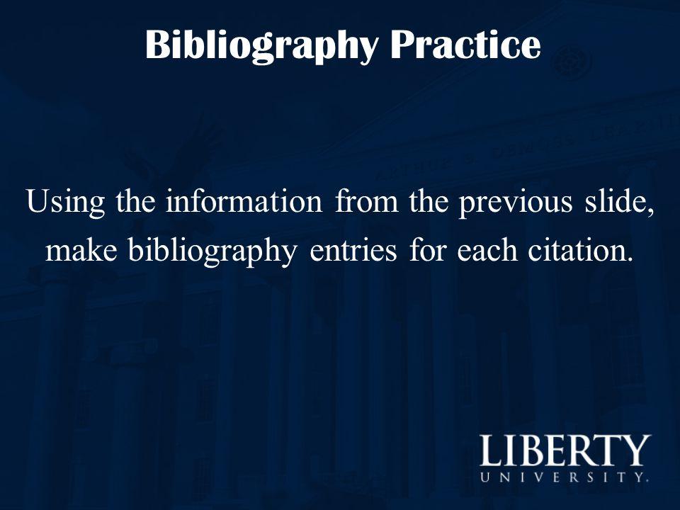 Bibliography Practice