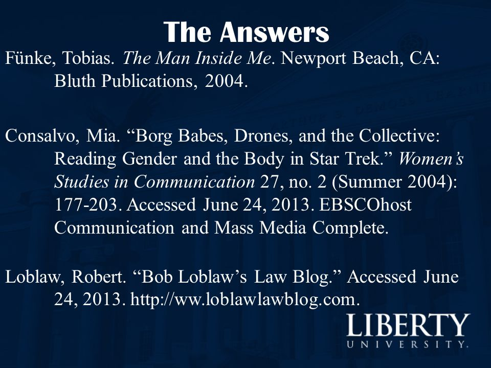 The Answers Fünke, Tobias. The Man Inside Me. Newport Beach, CA: Bluth Publications, 2004.