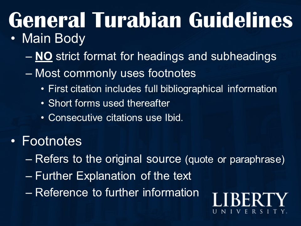 how to use turabian footnotes