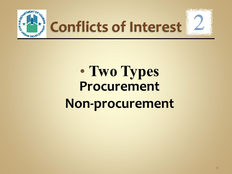 Conflicts of Interest Procurement Non-procurement Two Types