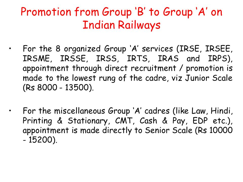 Promotion from Group 'B' to Group 'A' on Indian Railways