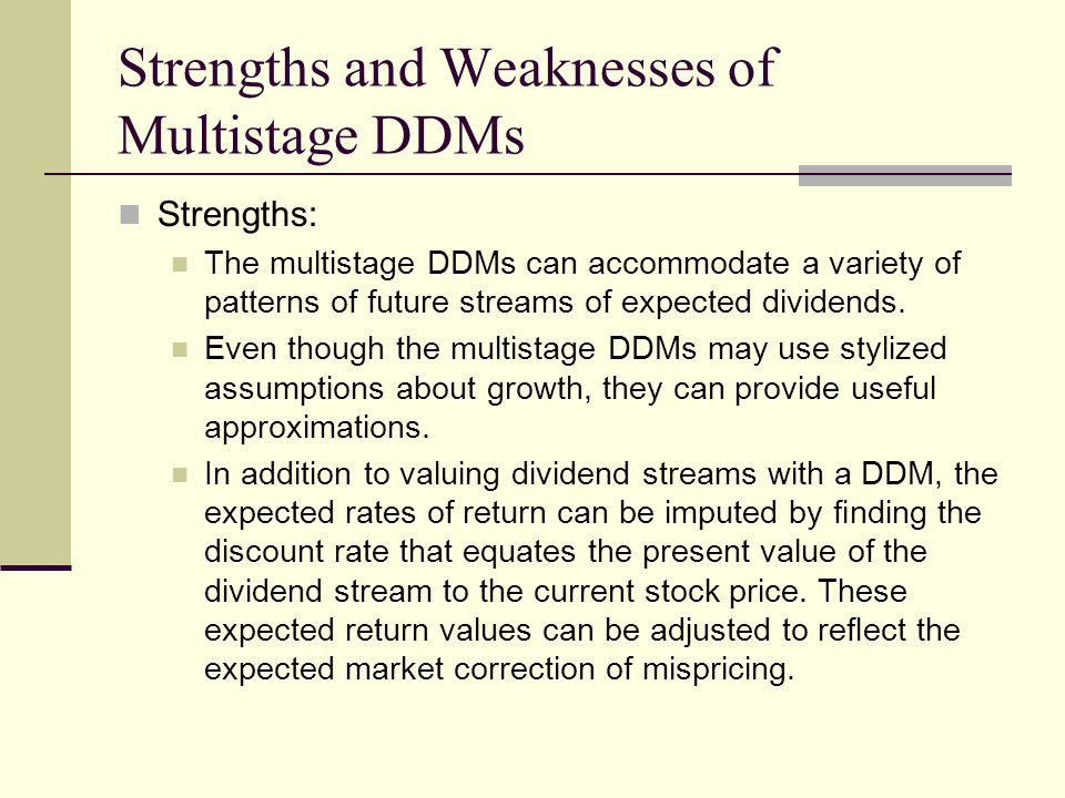 Strengths and Weaknesses of Multistage DDMs