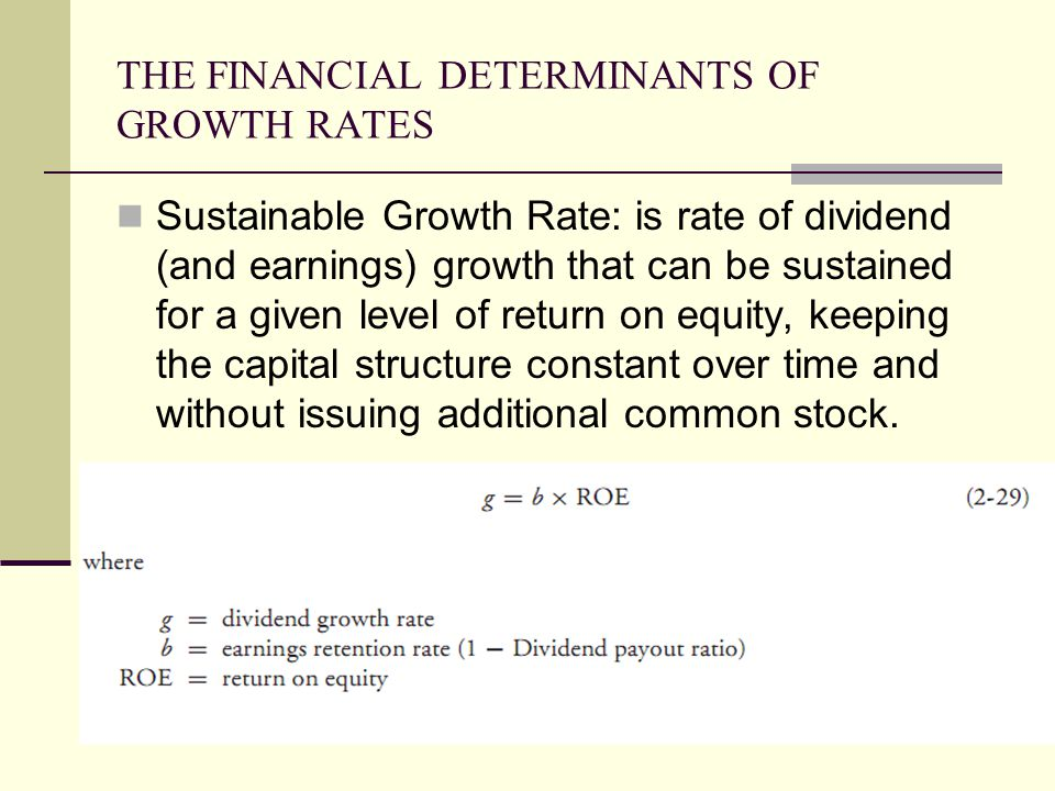 THE FINANCIAL DETERMINANTS OF GROWTH RATES