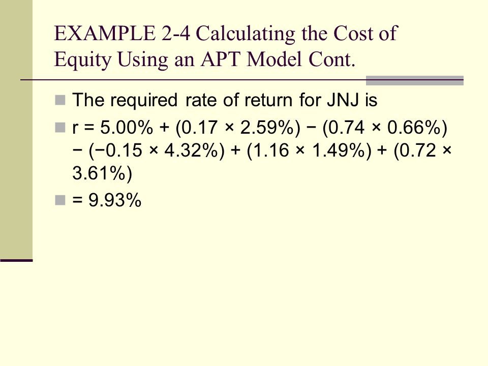 EXAMPLE 2-4 Calculating the Cost of Equity Using an APT Model Cont.