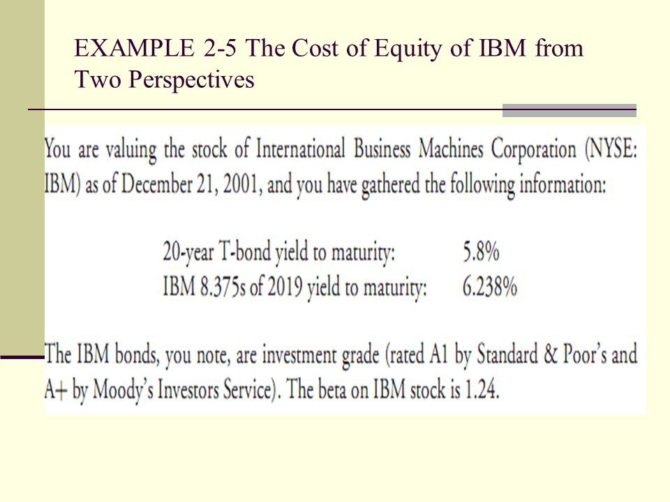 EXAMPLE 2-5 The Cost of Equity of IBM from Two Perspectives
