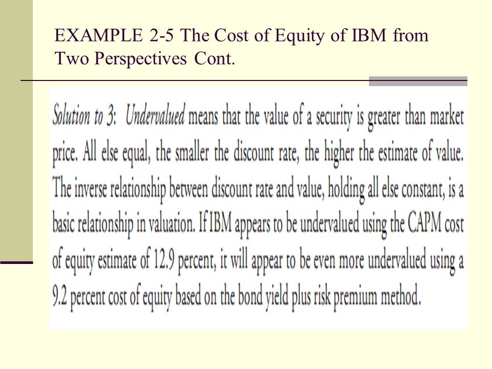 EXAMPLE 2-5 The Cost of Equity of IBM from Two Perspectives Cont.