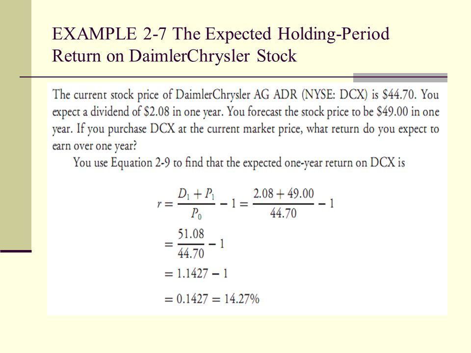 EXAMPLE 2-7 The Expected Holding-Period Return on DaimlerChrysler Stock