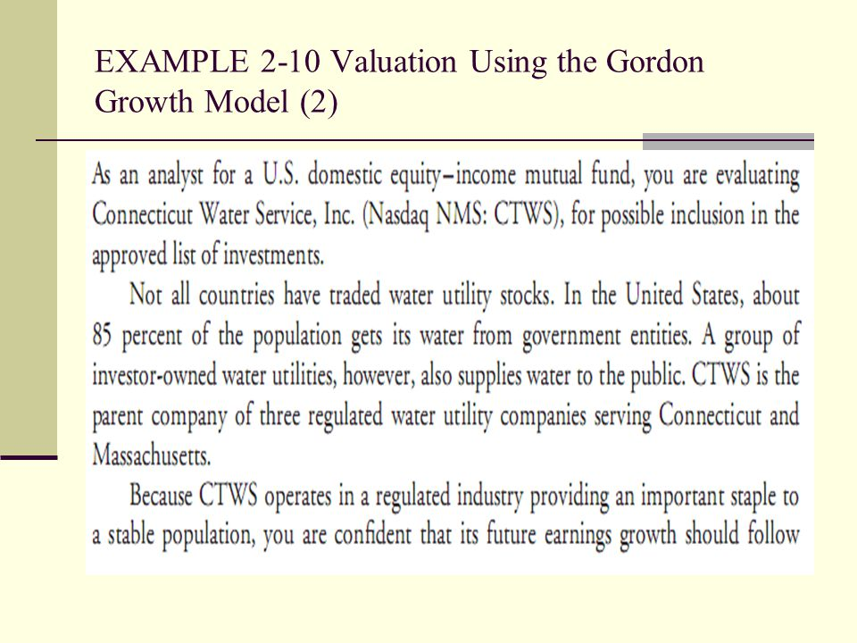 EXAMPLE 2-10 Valuation Using the Gordon Growth Model (2)
