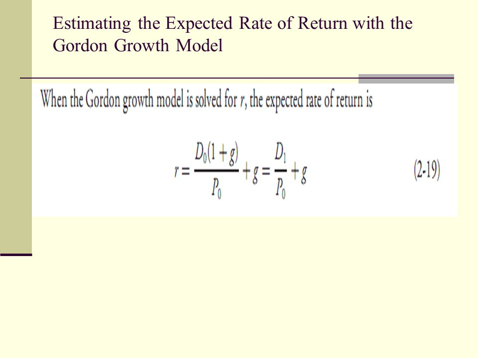 Estimating the Expected Rate of Return with the Gordon Growth Model