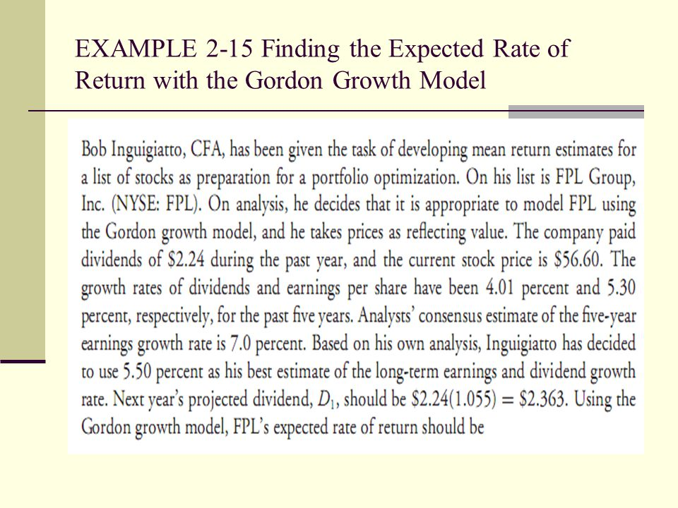 EXAMPLE 2-15 Finding the Expected Rate of Return with the Gordon Growth Model