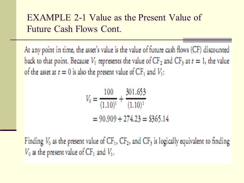 EXAMPLE 2-1 Value as the Present Value of Future Cash Flows Cont.