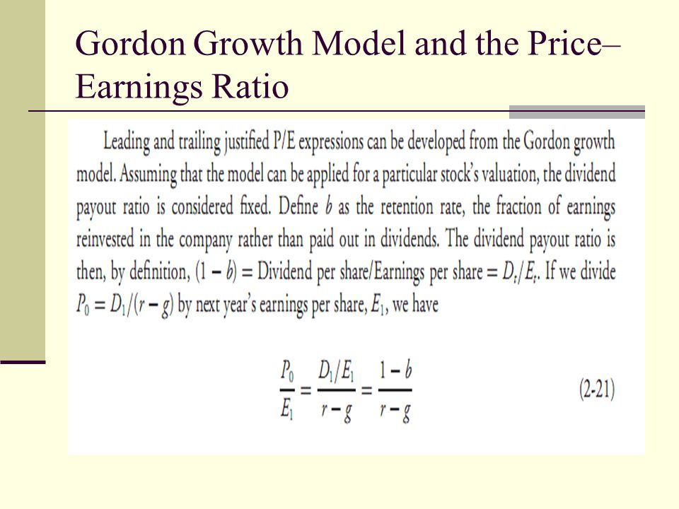 Gordon Growth Model and the Price–Earnings Ratio