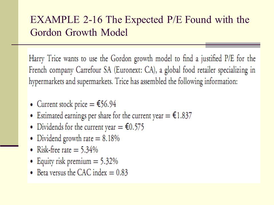 EXAMPLE 2-16 The Expected P/E Found with the Gordon Growth Model