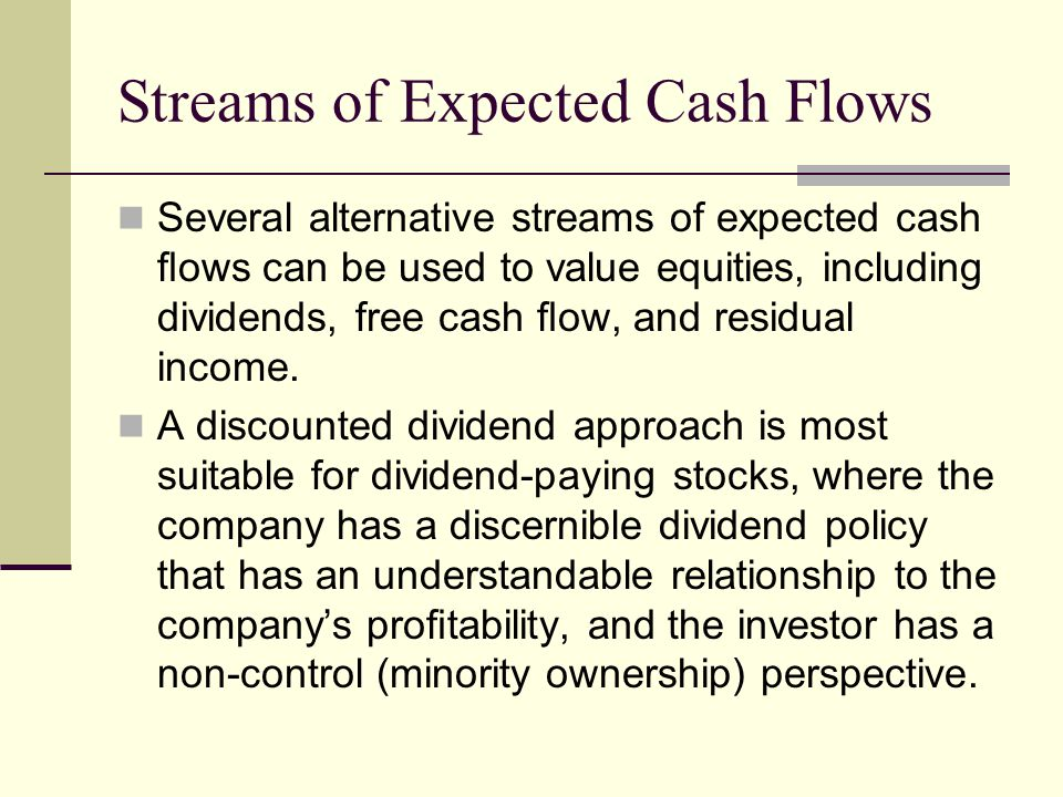 Streams of Expected Cash Flows