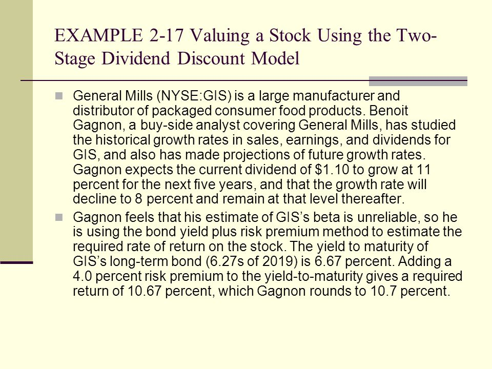 EXAMPLE 2-17 Valuing a Stock Using the Two-Stage Dividend Discount Model