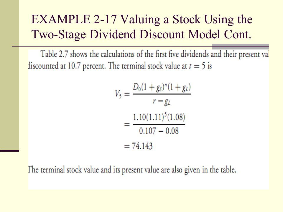 EXAMPLE 2-17 Valuing a Stock Using the Two-Stage Dividend Discount Model Cont.