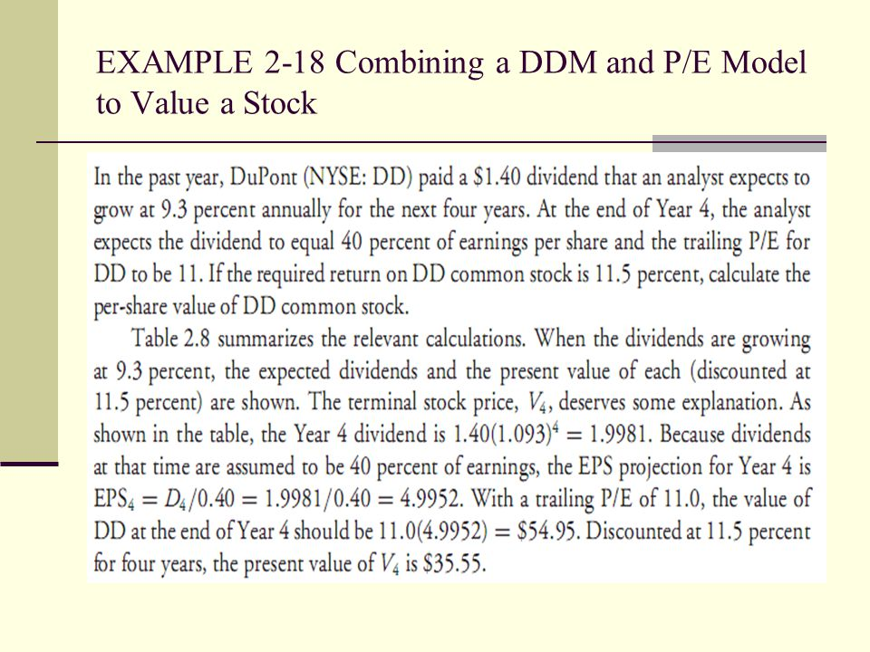 EXAMPLE 2-18 Combining a DDM and P/E Model to Value a Stock