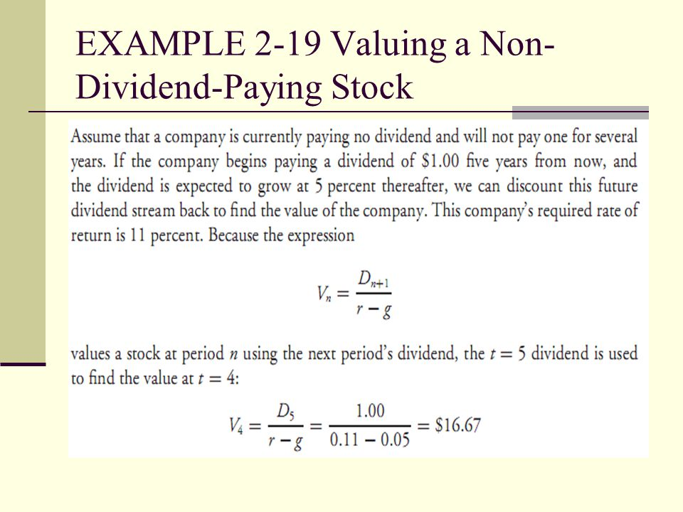 EXAMPLE 2-19 Valuing a Non-Dividend-Paying Stock