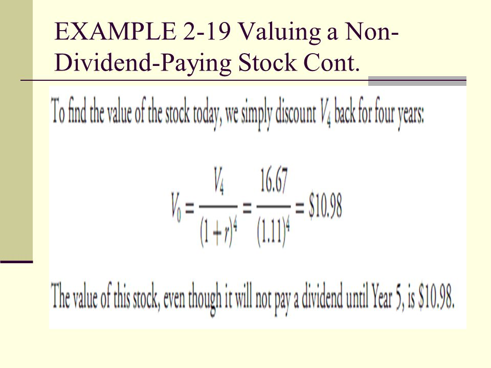 EXAMPLE 2-19 Valuing a Non-Dividend-Paying Stock Cont.