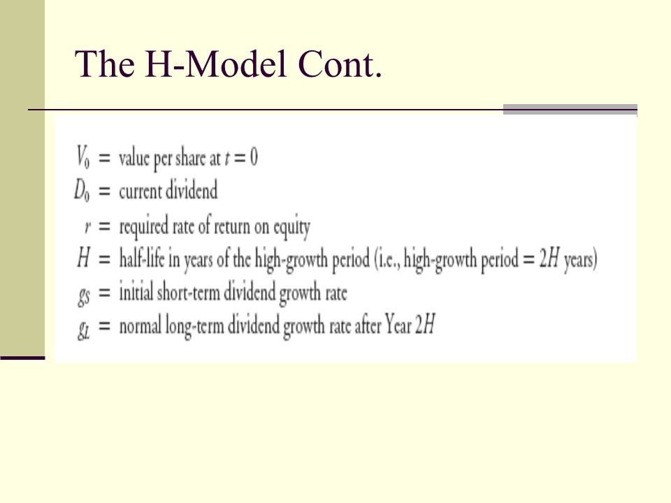 The H-Model Cont.