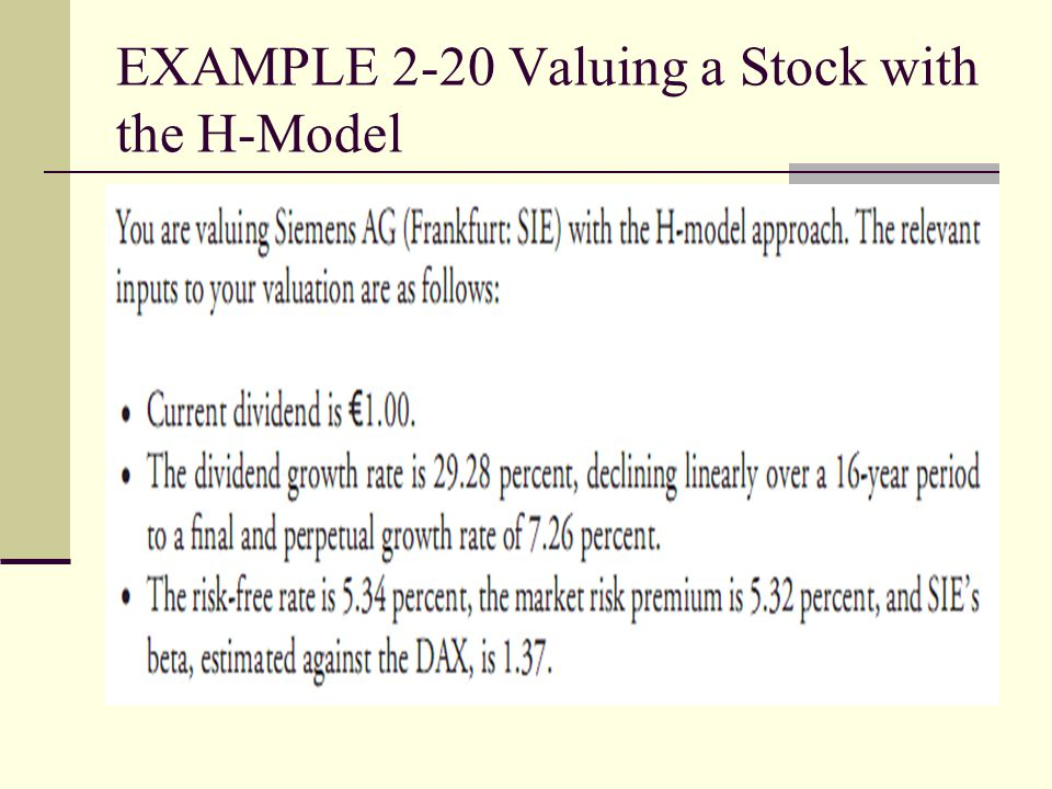 EXAMPLE 2-20 Valuing a Stock with the H-Model