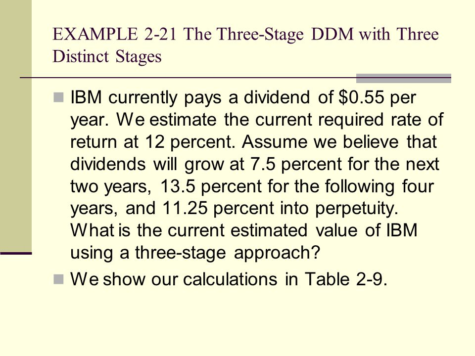 EXAMPLE 2-21 The Three-Stage DDM with Three Distinct Stages