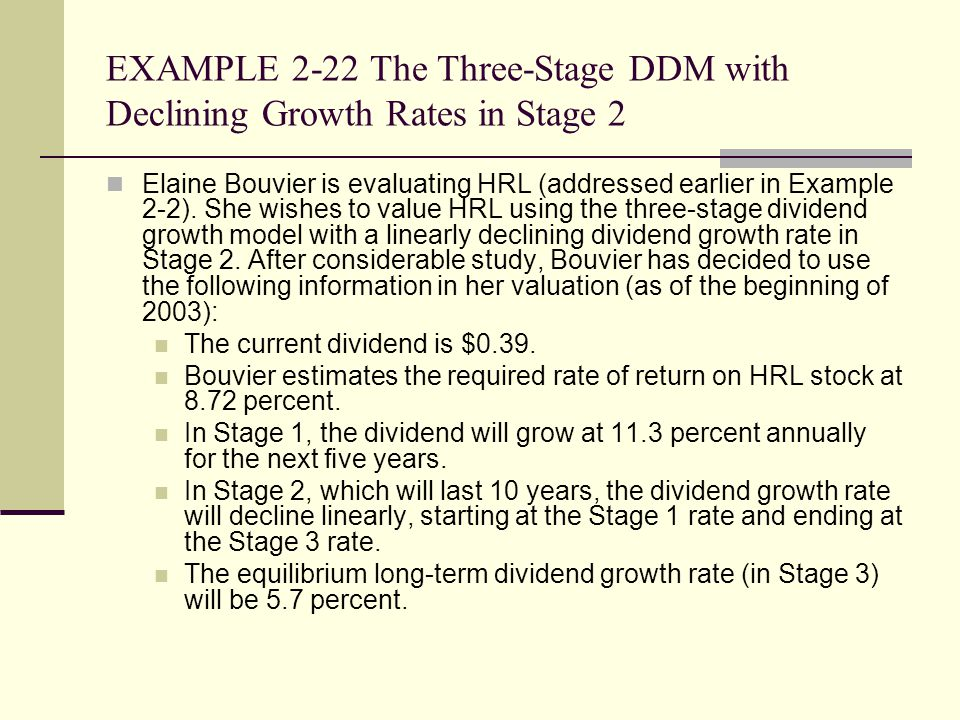 EXAMPLE 2-22 The Three-Stage DDM with Declining Growth Rates in Stage 2