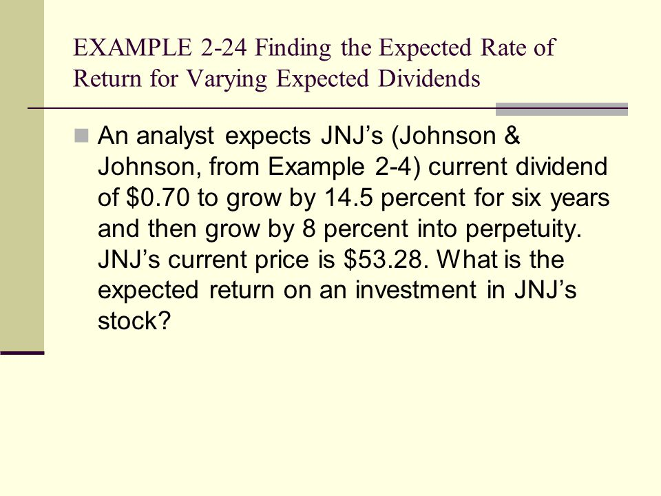 EXAMPLE 2-24 Finding the Expected Rate of Return for Varying Expected Dividends