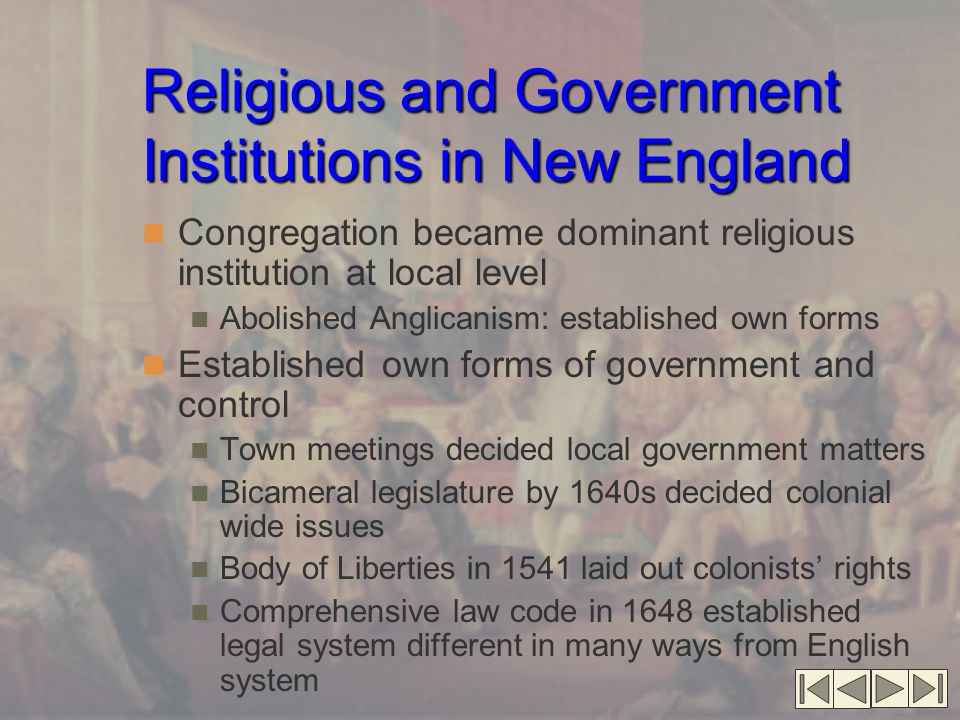 Religious and Government Institutions in New England