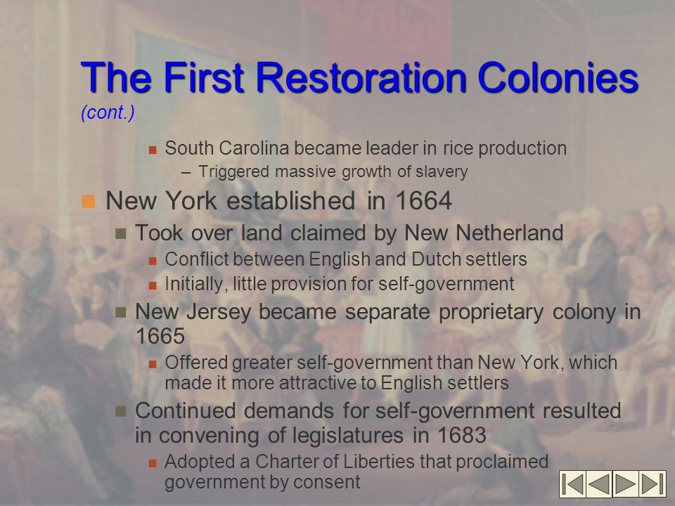 The First Restoration Colonies (cont.)