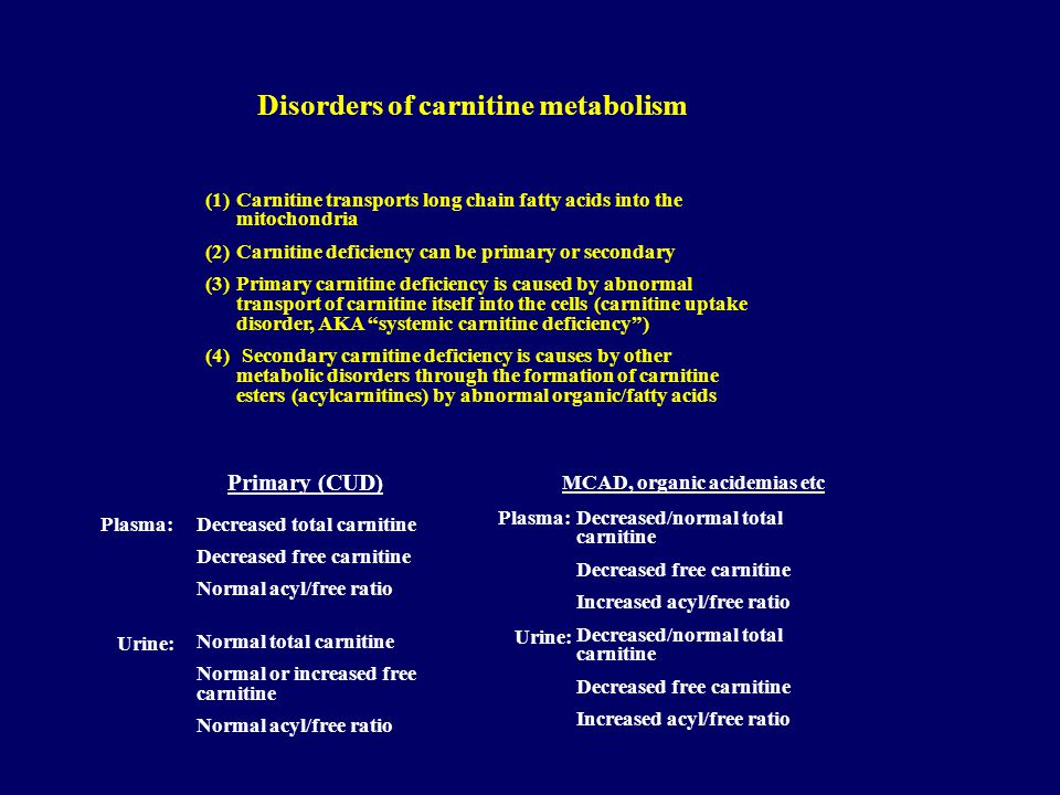 Disorders of carnitine metabolism MCAD, organic acidemias etc