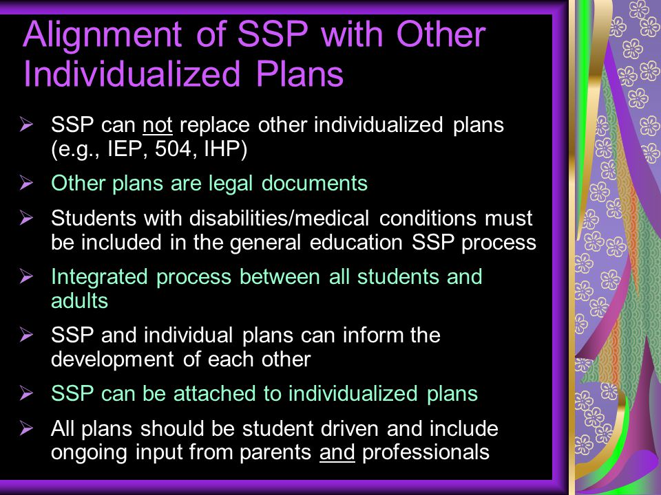 Alignment of SSP with Other Individualized Plans