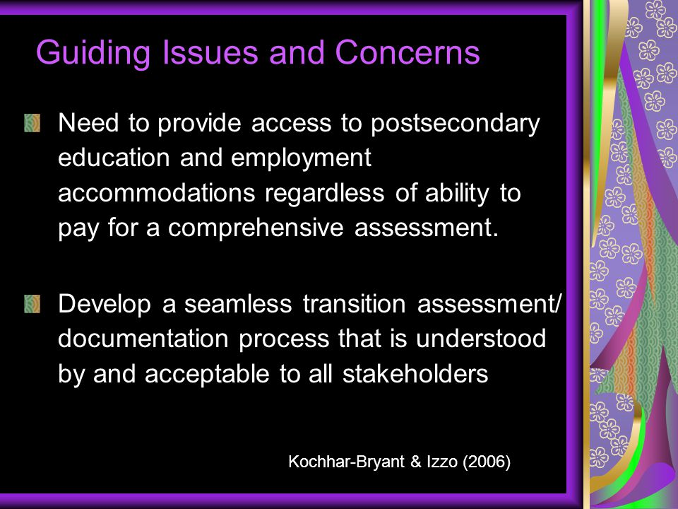 Guiding Issues and Concerns