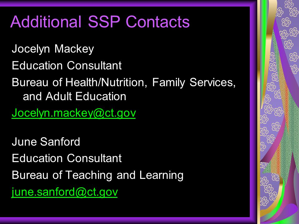 Additional SSP Contacts