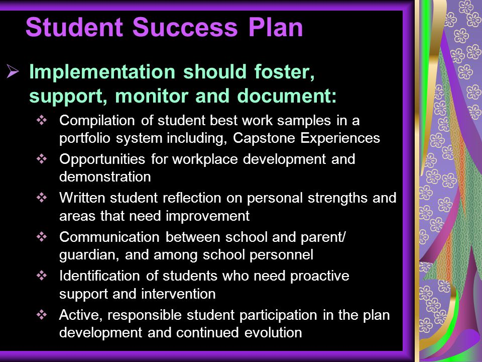 Student Success Plan Implementation should foster, support, monitor and document: