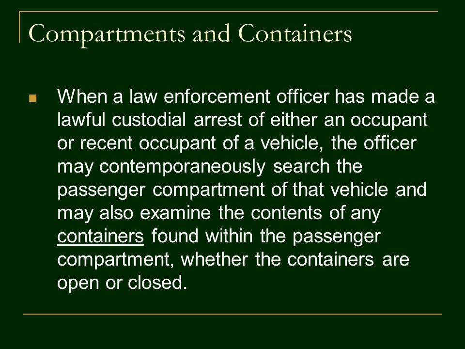 Compartments and Containers
