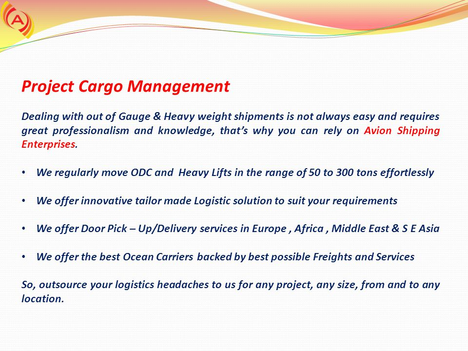 Project Cargo Management
