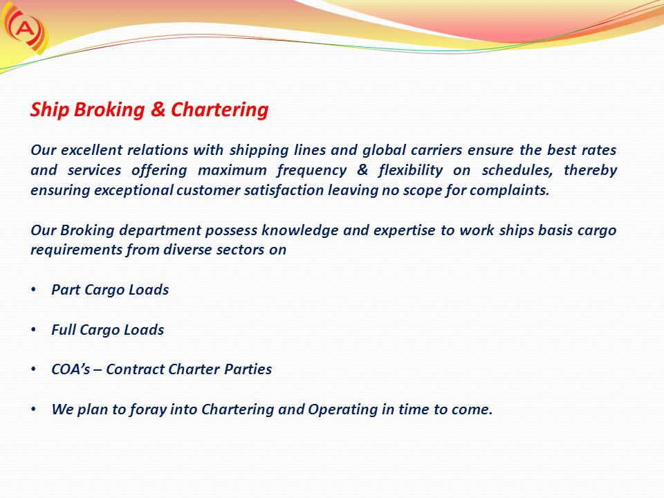 Ship Broking & Chartering