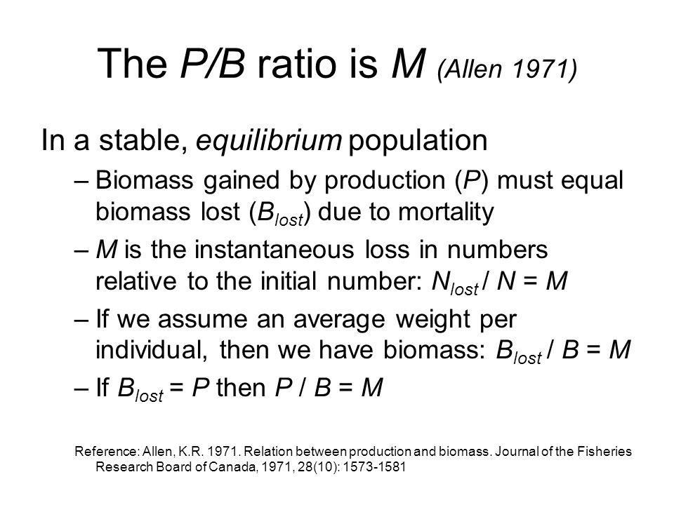 The P/B ratio is M (Allen 1971)