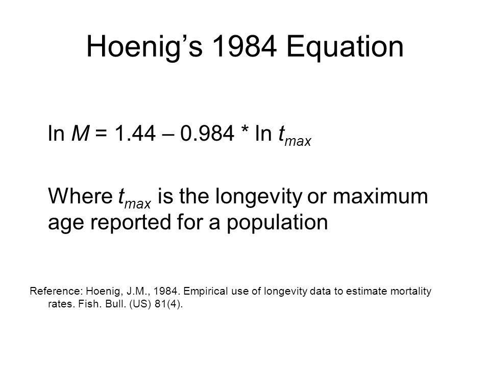 Hoenig's 1984 Equation ln M = 1.44 – 0.984 * ln tmax