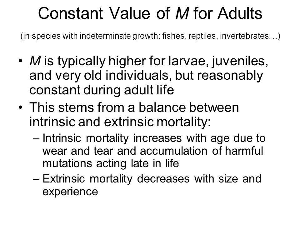 Constant Value of M for Adults (in species with indeterminate growth: fishes, reptiles, invertebrates, ..)