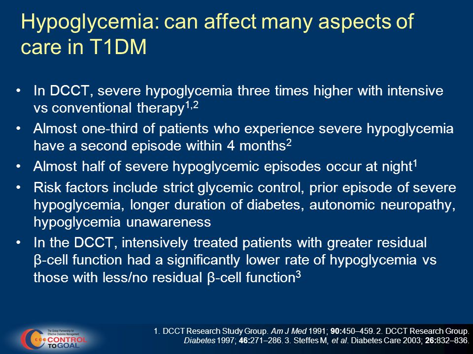 Hypoglycemia: can affect many aspects of care in T1DM