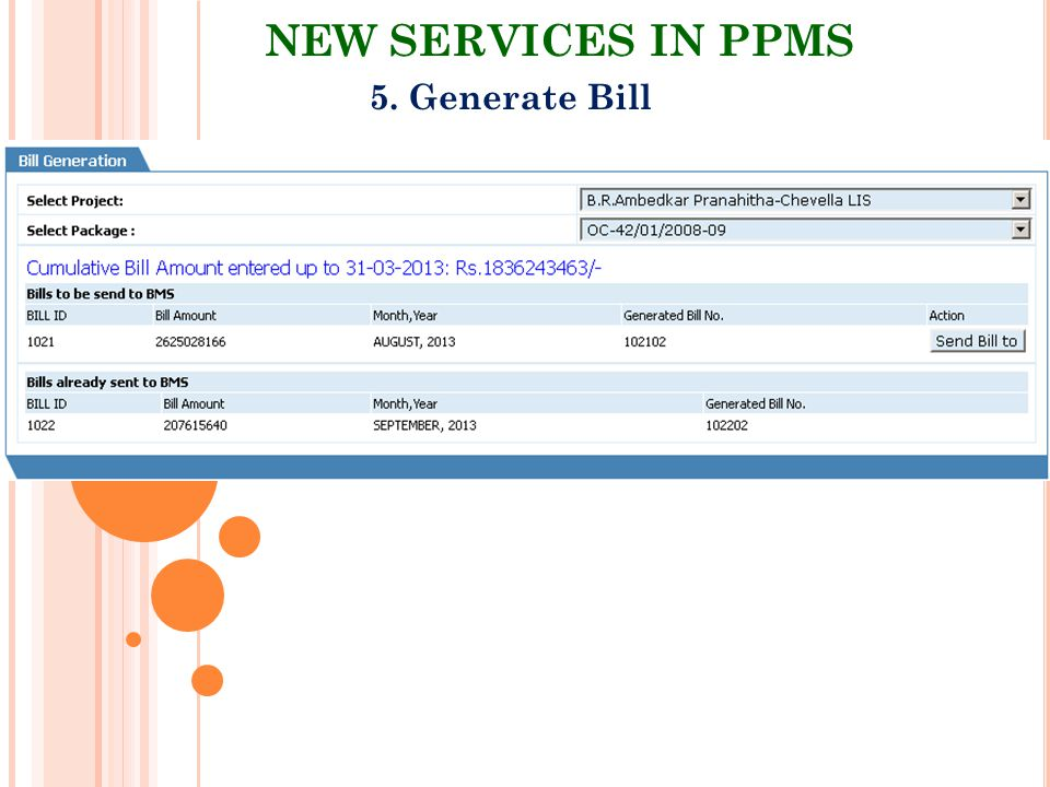 NEW SERVICES IN PPMS 5. Generate Bill