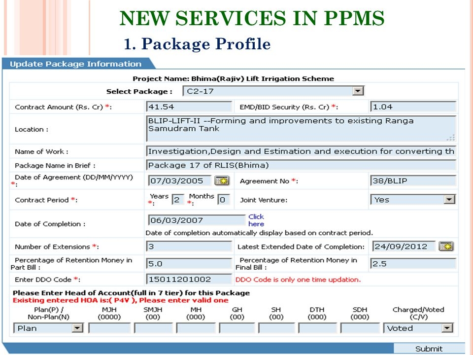 NEW SERVICES IN PPMS 1. Package Profile