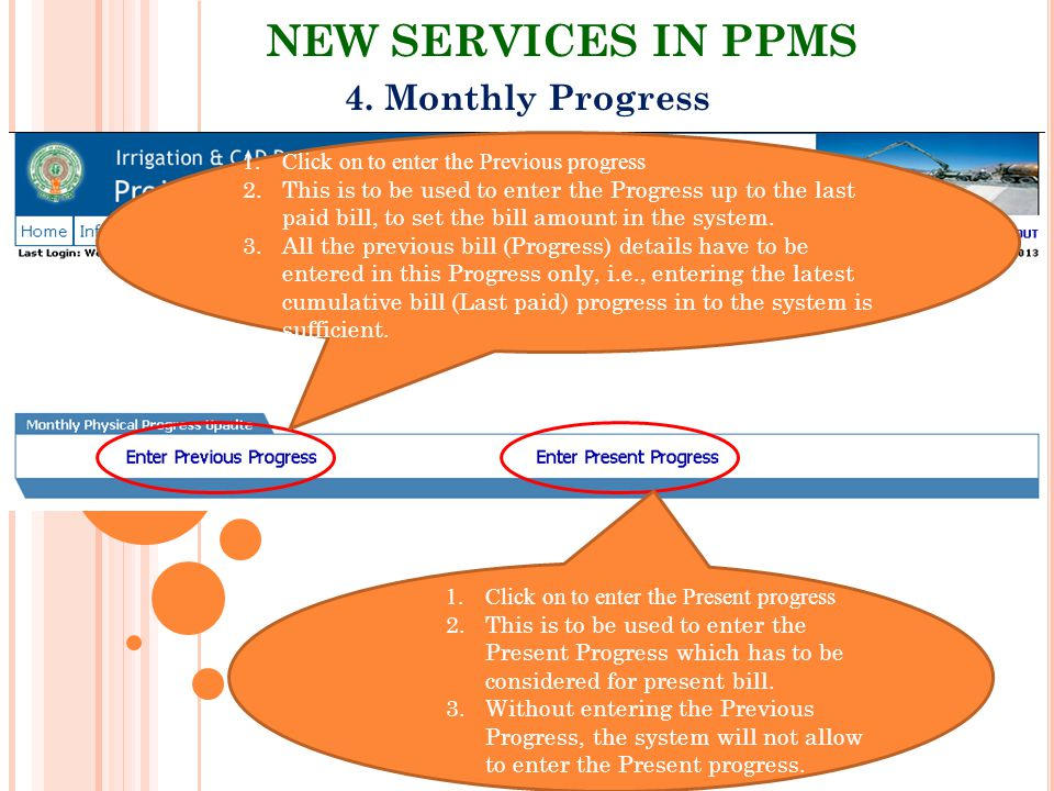 NEW SERVICES IN PPMS 4. Monthly Progress
